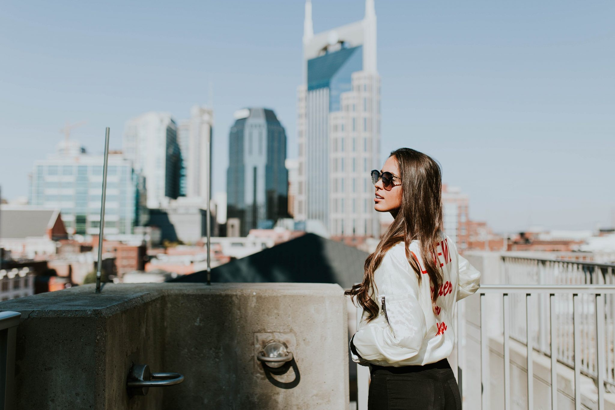 Woman Overlooking Nashville - authenticMoto.com